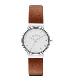 Skagen Denmark Women's Silvertone Ancher Watch with Brown Leather Strap