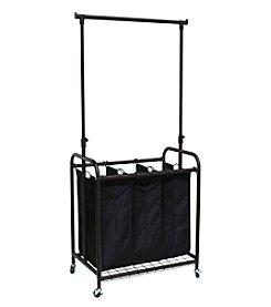 Oceanstar 3-Bag Rolling Laundry Sorter with Adjustable Hanging Bar