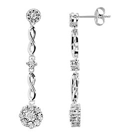 DiAura Diamond Accent Drop Earrings in Sterling Silver