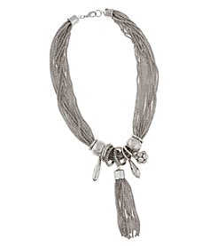 Erica Lyons® Silvertone Tassel and Charms Necklace
