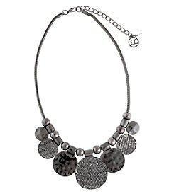 Erica Lyons® Hematite Disk Fringe Front Necklace