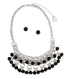 Erica Lyons® Black Shaky Bead Bib Front Necklace and Earrings Boxed Set