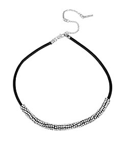 Kenneth Cole® Silvertone Seed Bead Wrapped Leather Necklace