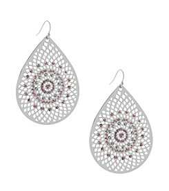 Jessica Simpson Silvertone Large Teardrop Stone Earrings