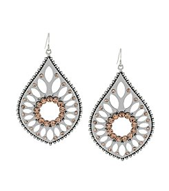 Jessica Simpson Silvertone Peach Round Cabochon Earrings