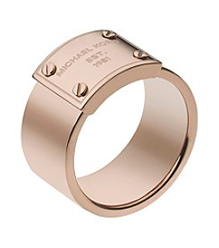 Michael Kors® Rose Goldtone Logo Plate Ring