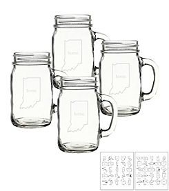 Cathy's Concepts Home State Old Fashioned Set of 4 Drinking Jars