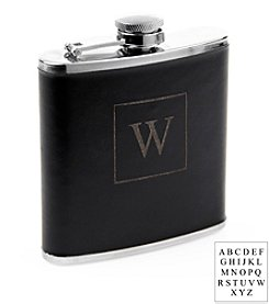 Cathy's Concepts Personalized Black Leather Flask