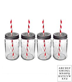 Cathy's Concepts Personalized Set of 4 Mason Jars with Lids and Straws
