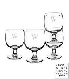Cathy's Concepts Personalized Set of 4 Stackable Low Stem Wine Glasses