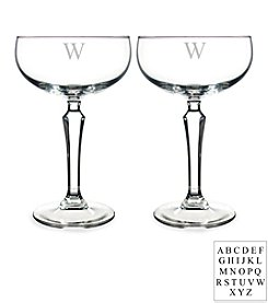 Cathy's Concepts Personalized Set of 2 Champagne Coupe Toasting Flutes
