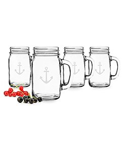 Cathy's Concepts Anchor Set of 4 Old Fashioned Drinking Jars