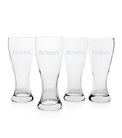 Cathy's Concepts #Cheers Set of 4 Pilsner Glasses