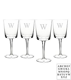 Cathy's Concepts Personalized Contemporary Set of 4 Wine Glasses