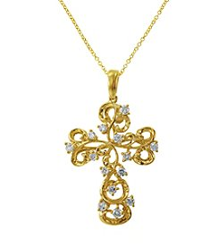 Effy® .39 ct. t.w. Diamond Cross Pendant in 14K Yellow Gold