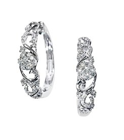 Effy® .56 ct. t.w. Diamond Hoop Earrings in 14K White Gold