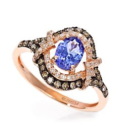 Effy® Tanzanite and .39 ct. t.w. Diamond Ring in 14K Rose Gold