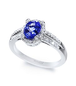 Effy® Tanzanite and .20 ct. t.w. Diamond Ring in 14K White Gold