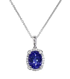 Effy® Tanzanite and .09 ct. t.w. Diamond Pendant in 14K White Gold