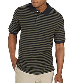 Harbor Bay® Men's Big & Tall Bi Color Stripe Pique Polo