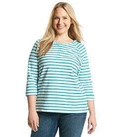 Studio Works® Plus Size 3/4 Sleeve Striped Sweatshirt