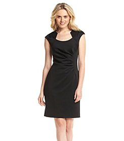 Calvin Klein Horseshoe Neck Ruched Sheath Dress