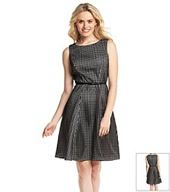 Calvin Klein Perforated Sheath Dress With Belt