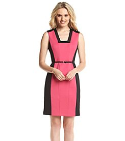 Calvin Klein Colorblock Panel Skinny Belted Sheath Dress