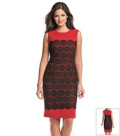 Anne Klein® Crocheted Overlay Sheath Dress