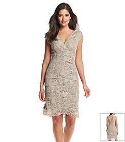 Jessica Howard® Cap Sleeve Front Lace Tier Dress