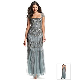 Adrianna Papell® Cap Sleeve Long Beaded Gown