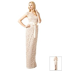 Adrianna Papell® Cap Sleeve Keyhole Back Lace Gown