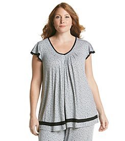 Ellen Tracy® Plus Size Knit Top - Gray Heather Dot