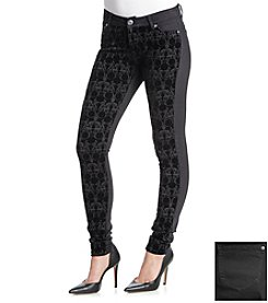Celebrity Pink Flocked Geometric Print Skinny Pants