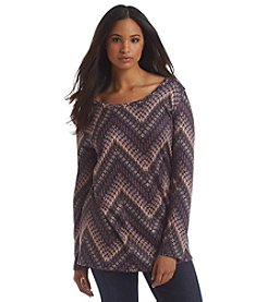 Living Doll® Plus Size Blurred Chevron Lightweight Sweater