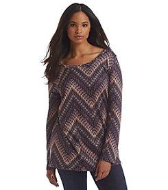 Living Doll® Plus Size Blurred Chevron Lightweight Sweater