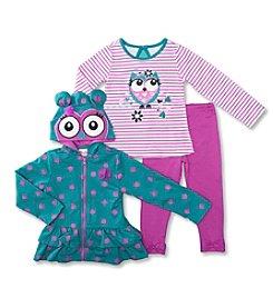 Nannette® Girls' 2T-4T 3-pc. Fleece Owl Set