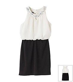 Amy Byer Girls' 7-16 U-Neck Colorblock Dress