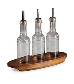 Heritage Collection by Fabio Viviani Legacy® Oliera Olive Oil, Vinegar, and Vinaigrette Bottle Set on Acacia Base
