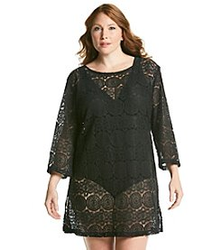 J. Valdi Plus Size Medallion Crochet Tunic Cover Up