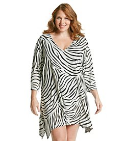 J. Valdi Plus Size Zebra Burnout Sharkbite Tunic Cover Up