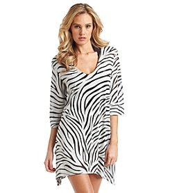 J. Valdi® Zebra Burnout Sharkbite Tunic Cover Up