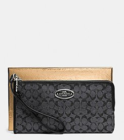 COACH L-ZIP WALLET IN SIGNATURE COATED CANVAS