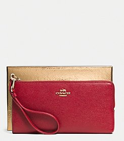 COACH L-ZIP WALLET IN EMBOSSED TEXTURED LEATHER