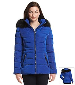 Calvin Klein Performance Short Coat with Faux Fur Trimmed Hood