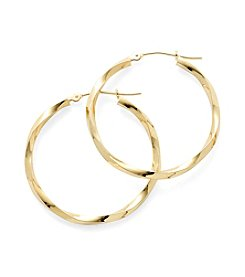 14K Yellow Gold Square Edge Twisted Hoop Earrings