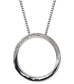 0.10 ct. t.w. Diamond Circle Pendant Necklace in Sterling Silver