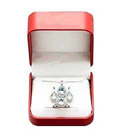 Genuine Blue Topaz and Lab Created White Sapphire Earrings, Ring and Pendant Set in Sterling Silver