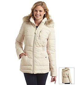 Laundry by Design Diamond Down Coat with Ruched Sides