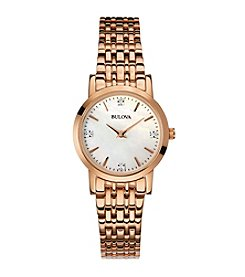 Bulova® Women's Rose Goldtone Diamond Accent Watch